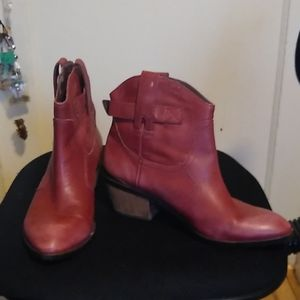 Women's Red Leather Booties